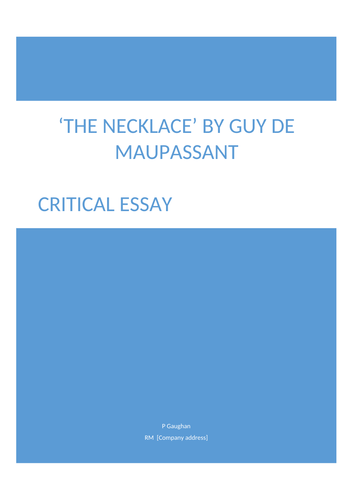 English Is My Second Language Essay National  Gcse Higher Ks Critical Essay The Necklace Guy De  Maupassant By Paulagaughan  Teaching Resources  Tes Analysis Essay Thesis also Old English Essay National  Gcse Higher Ks Critical Essay The Necklace Guy De  How Do I Write A Thesis Statement For An Essay