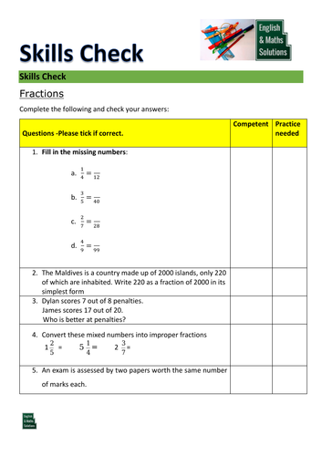 GCSE/Functional Skills Maths Diagnostic Skills Check for Fractions