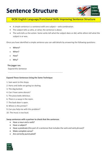 GCSE English Language/Functional Skills Sentence Structure