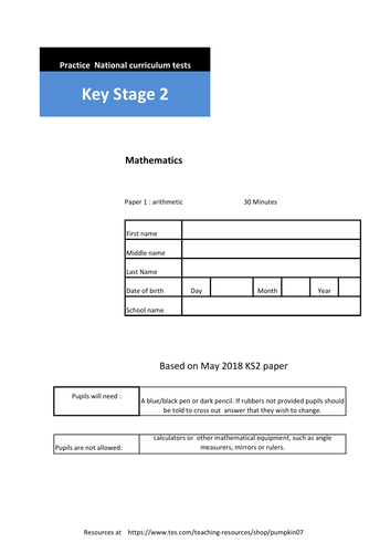 KS2 Arithmetic Papers ( 4 complete papers with answer sheets)