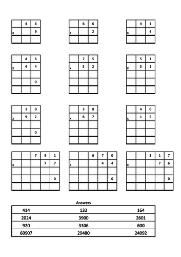 Column multiplication practice.  Answers provided