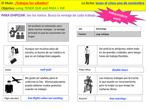 ¿Trabajas los sábados? - talking about part time jobs, using TENER QUE, and para + inf.