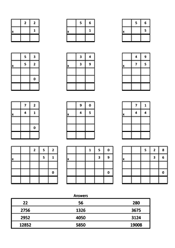 Column multiplication exercise.