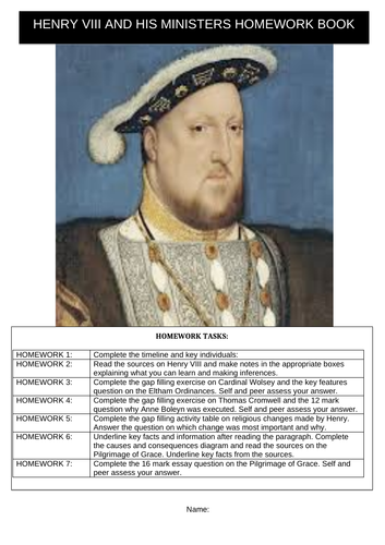 Henry VIII and His Ministers KS3 Homework Preparation Booklet