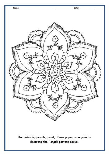 Indian Rangoli Patterns - PowerPoint & 7 Worksheets