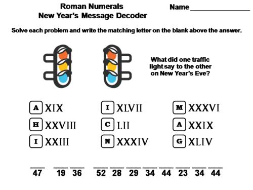 Roman Numerals New Year's Math Activity: Message Decoder