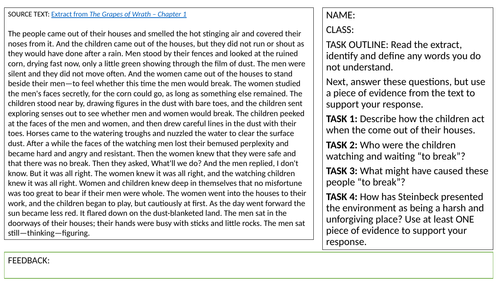 KS3: SPaG Understanding a Text Lessons (Focusing on John Steinbeck)