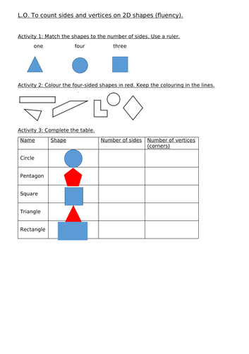 To count sides and vertices on 2D shapes - Year 1 and Year 2