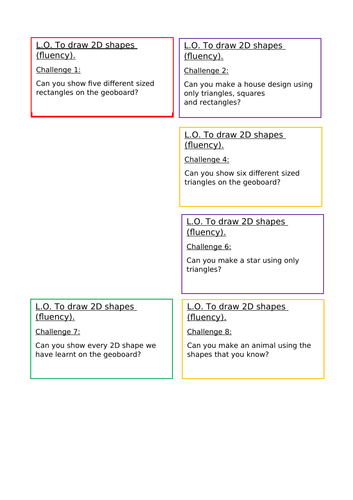 To draw 2D shapes - Year 1 and Year 2