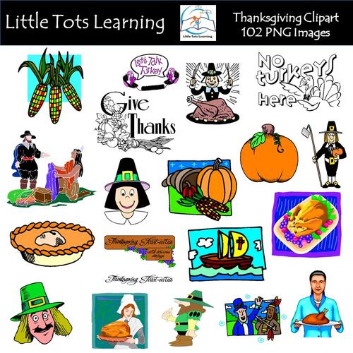 Thanksgiving Clip Art BUNDLE |Turkeys | Pilgrims | Pilgrim Hats | Borders | Titles