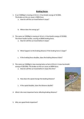 Braking forces worksheet - Work done against friction