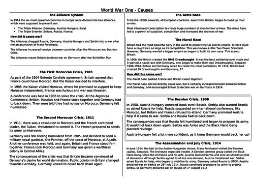 WW1 A3 Knowledge Organisers