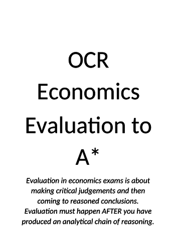 OCR A-Level Economics Evaluation guidance