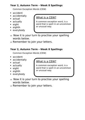 No Nonsense Spellings - Year 2 - Autumn Term - Week 8 Lesson Resources