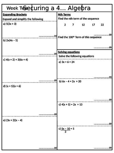 Securing a 4 - Pack 2 - GCSE Mathematics Revision