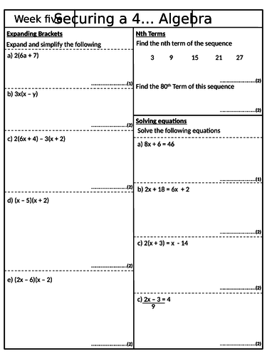 Securing a 4 - Pack 5 - GCSE Mathematics Revision