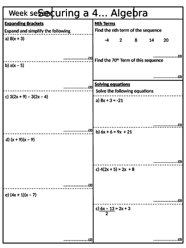 Securing a 4 - Pack 7 - GCSE Mathematics Revision