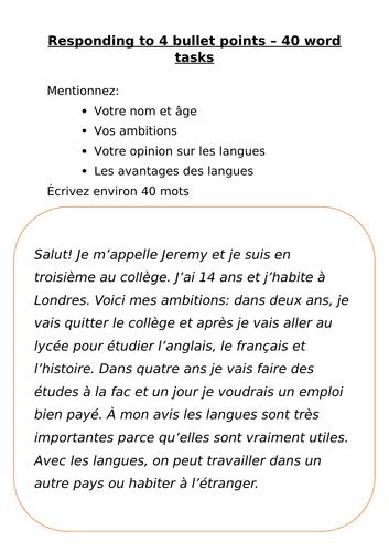 40 Word Task - 4 bullet points (jobs) & Tangled Translation Task