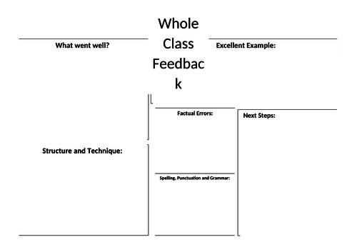 Whole class feedback template