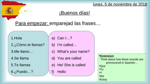 Spanish Year 7 - Basics and Introductions (7 Lessons)