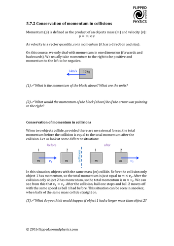 Conservation of momentum in collisions by eyrejk | Teaching ...