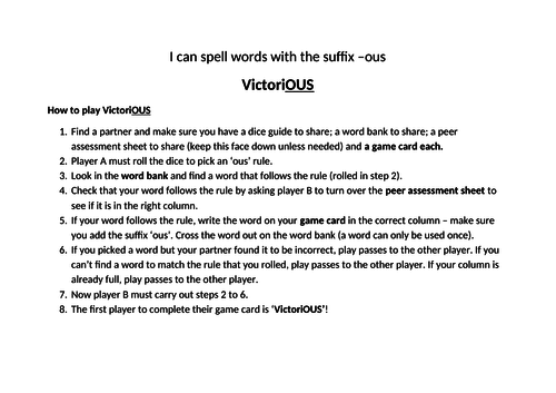 the suffix ous - dice game
