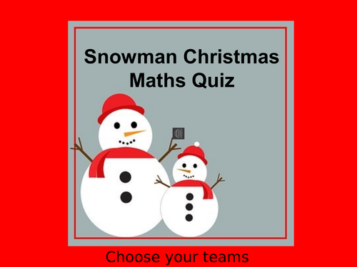 Christmas Maths Quiz: Snowman Yr 4/5/6