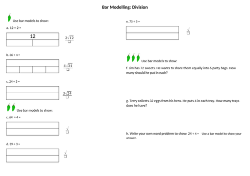 Maths Division using Bar Modelling