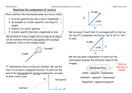 AQA - Resolving the components of a vector solutions (H)