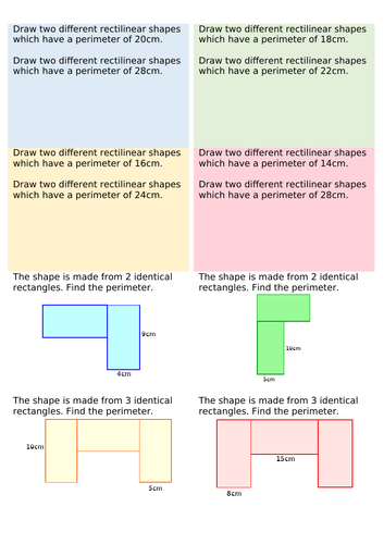 Year 4 - Perimeter of rectilinear shapes