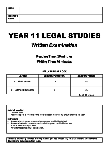 VCE Legal Studies Units 1 & 2 Examinations