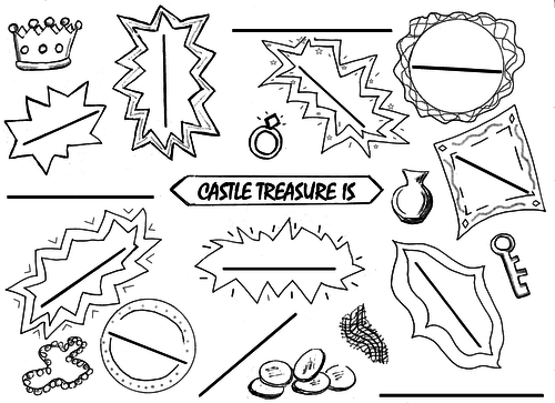 Castle Treasure picture-writing sheet + word bank
