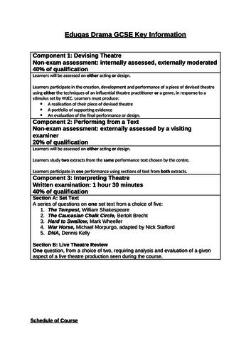 Eduqas Course Breakdown Sheet