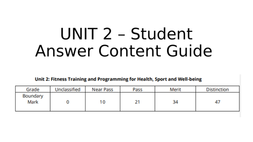 New BTEC Sport Nationals - Student content answer guide -  UNIT 2 Exam -  level 3