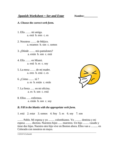 Spanish Worksheet on Ser and Estar Multiple Choice ...