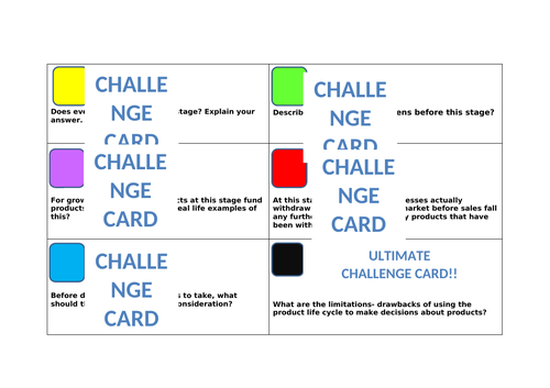 Product Life Cycle lesson with challenge cards and extension tasks