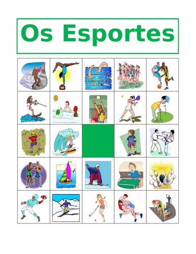 Desportos / Esportes (Sports in Portuguese) Bingo