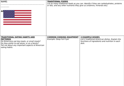 American Cuisine Research Worksheet