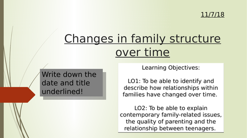 Changes in family structure over time