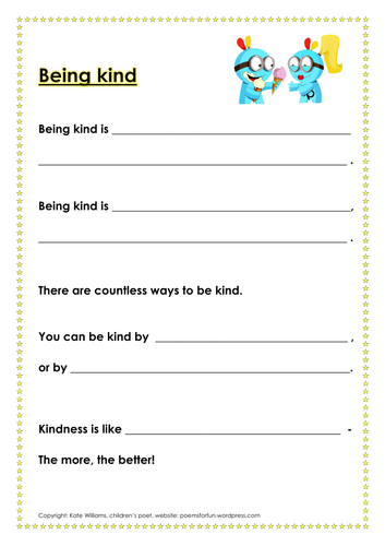 Being kind - PSHE/literacy sheet + examples