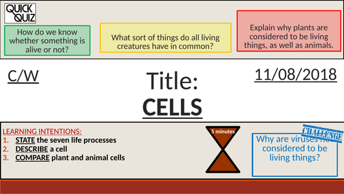 KS3 - Cells - Life Processes (MRS GREN) + Cells