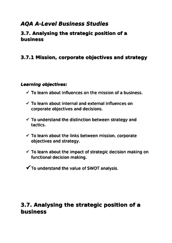 3.7.1. Mission, Corporate Objectives and Strategy