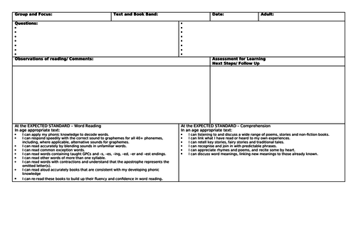 KS1 Guided Reading Planning Template