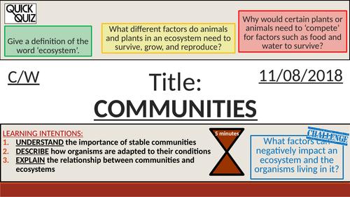 KS4 New GCSE (9-1) - Communities + Ecosystems (AQA B16.1-Adaptations, Interdependence, Competition)
