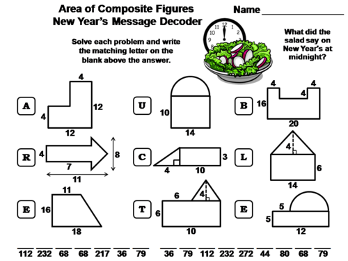 Area of Composite Figures New Year's Math Activity