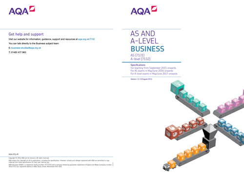 AQA A level and AS Business Level Specification 7131/7132