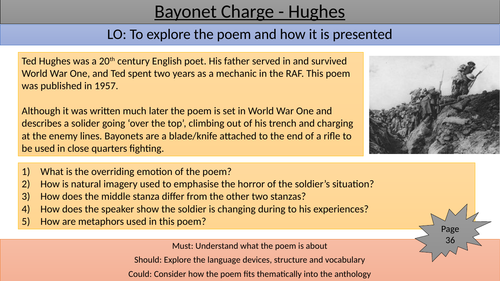 Bayonet Charge teaching/revision slide