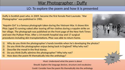 War Photographer teaching/revision slide