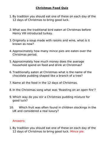 Christmas food quiz, printable on word