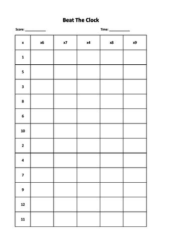Maths - Times Tables Beat The Clocks worksheet 4x 6x 7x 8x 9x